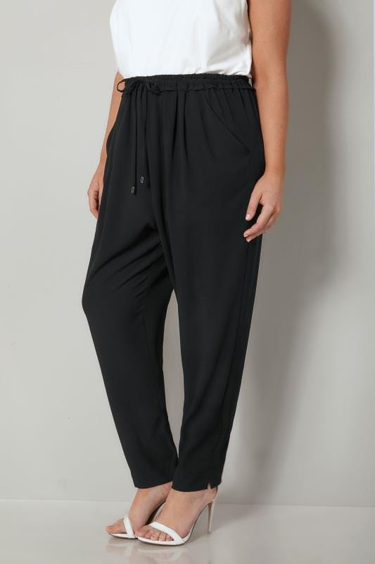 Plus Size Tapered & Slim Leg Pants Black Crepe Trousers With Drawstring Waist