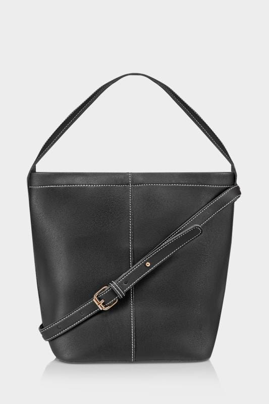 Black Bucket Bag With White Contrast Stitching