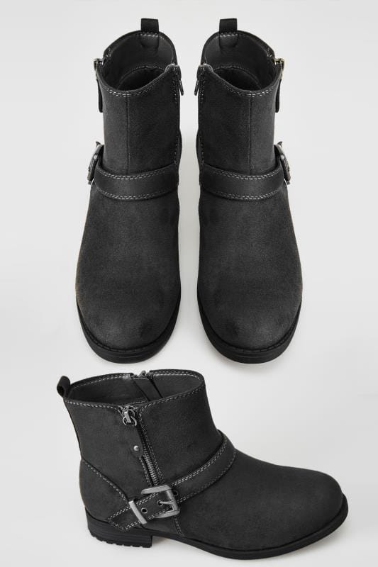 Wide Fit Ankle Boots Black Buckled Ankle Boots In TRUE EEE FIT