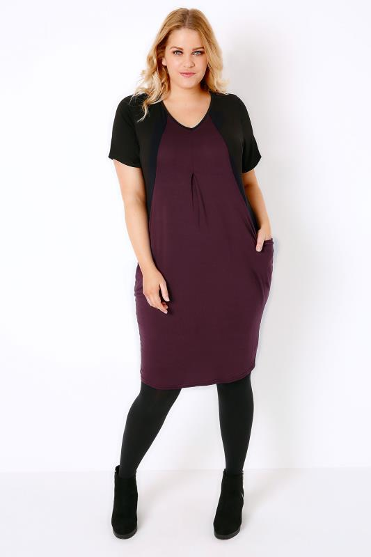 Black & Burgundy Colour Block V-Neck Swing Dress With Drape Pockets