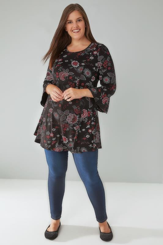 Black & Red Floral Print Jersey Peplum Top With Flute Sleeves