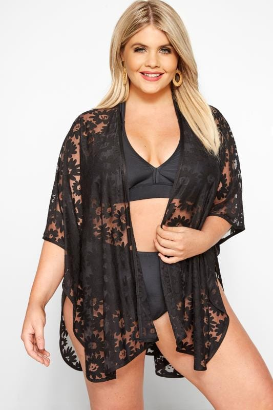 Plus Size Kaftans & Swimsuit Cover Ups Black Burnout Daisy Cover Up