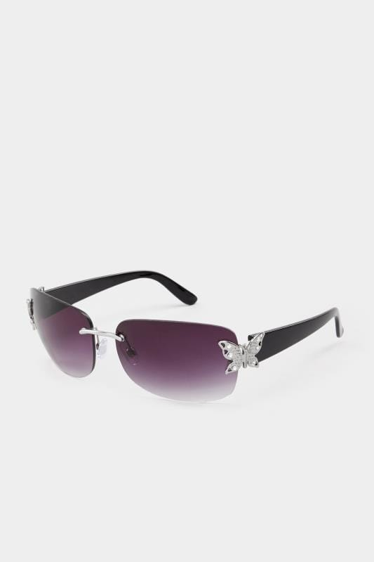 Black Butterfly Frameless Sunglasses