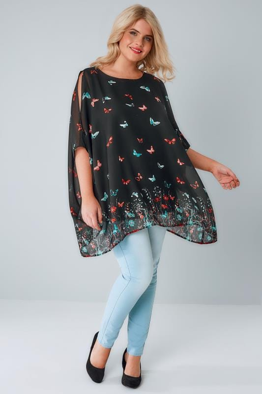 Black Butterfly Print Chiffon Cold Shoulder Cape Top With Free Necklace