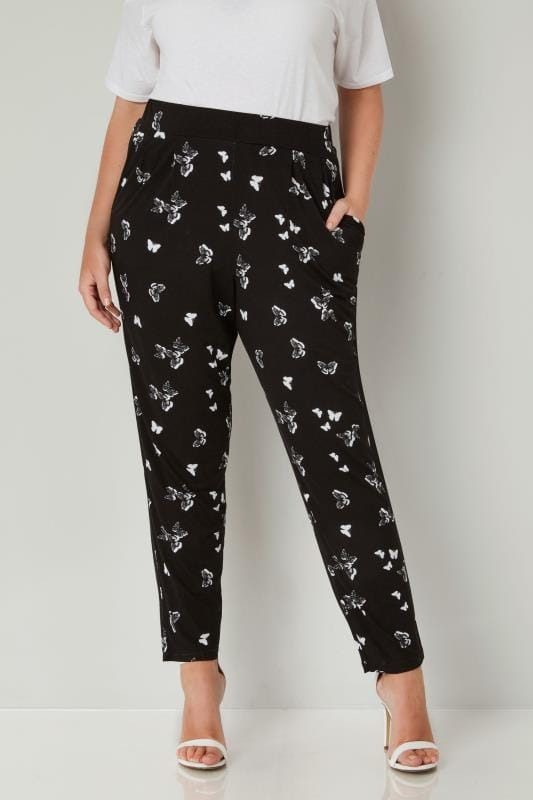 Black Butterfly Print Jersey Harem Trousers