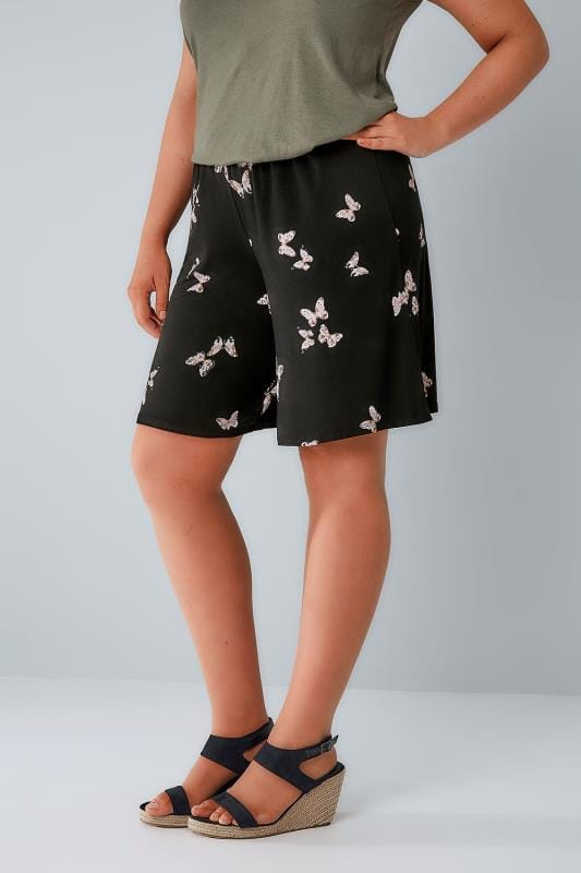 Jersey-Shorts Black Butterfly Print Jersey Pull On Shorts 144043