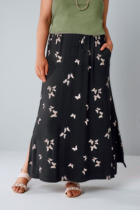 Grote maten maxi rokken Black Butterfly Print Pull On Maxi rok met Side Splits 160027