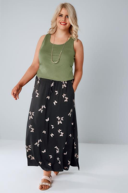 Black Butterfly Print Pull On Maxi Skirt With Side Splits