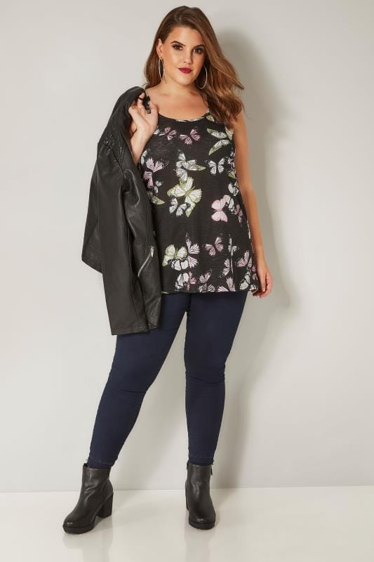 Black Butterfly Print Vest Top