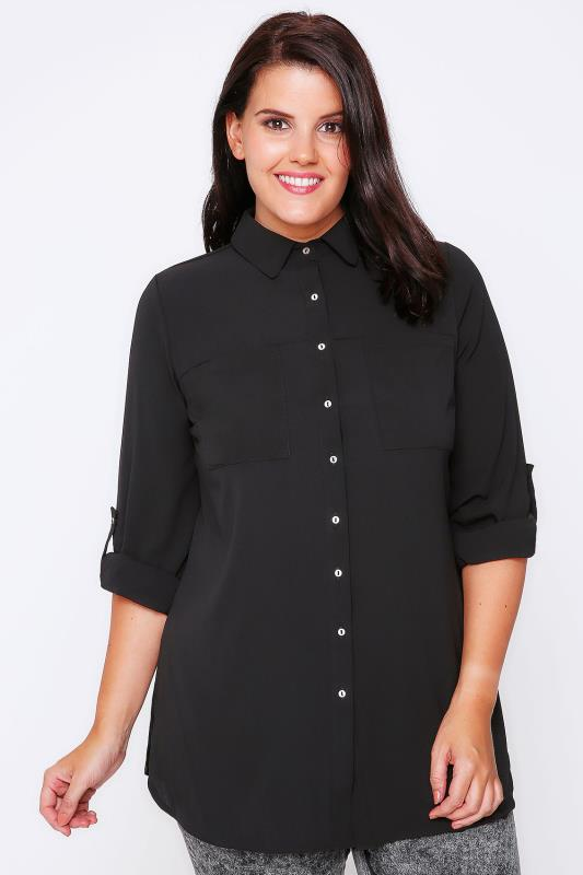 Black Button-Up Crepe Shirt With Pockets & Split Side Hem