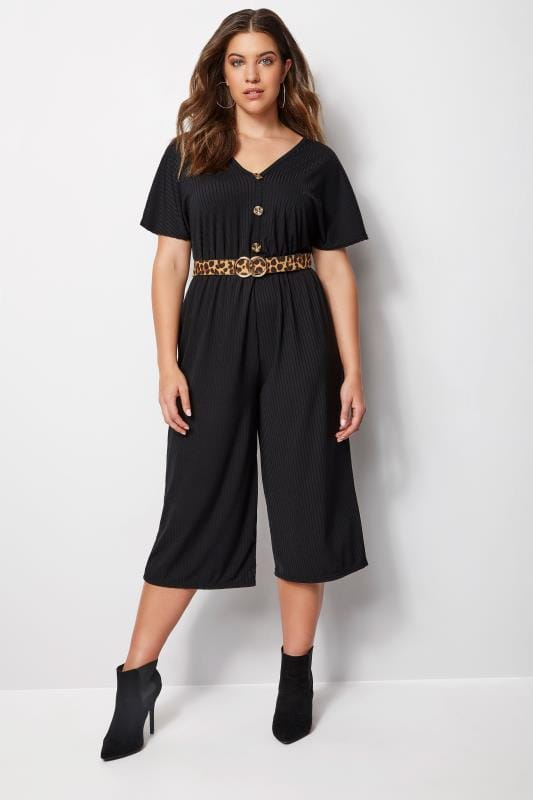 Plus Size Jumpsuits Black Button Front Jumpsuit