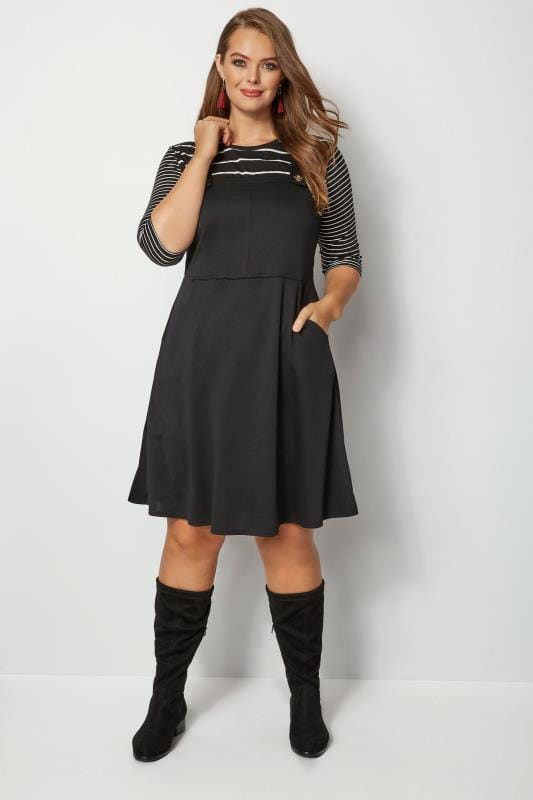 Plus Size Black Dresses Black Button Pinafore Dress