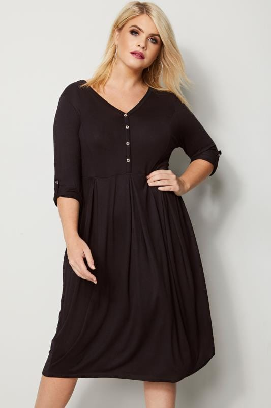 Plus Size Black Dresses Black Button Skater Dress