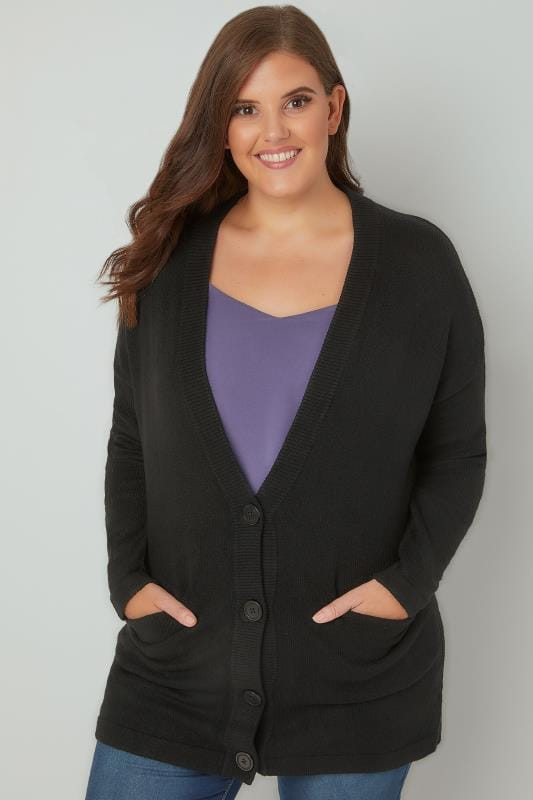 Plus Size Cardigans Black Button Up Cardigan With Two Pockets