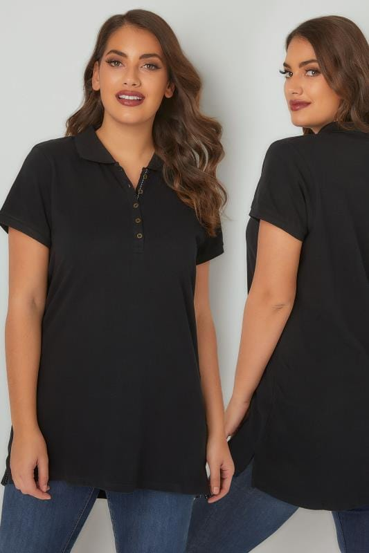 Basic T-Shirts & Vests Black Button Up Polo Shirt 132444