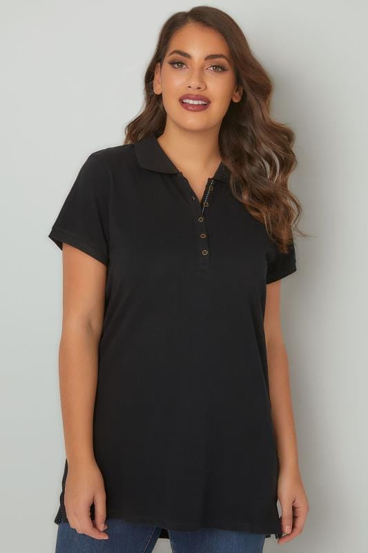 Plus Size Basic T-Shirts & Vests Black Button Up Polo Shirt