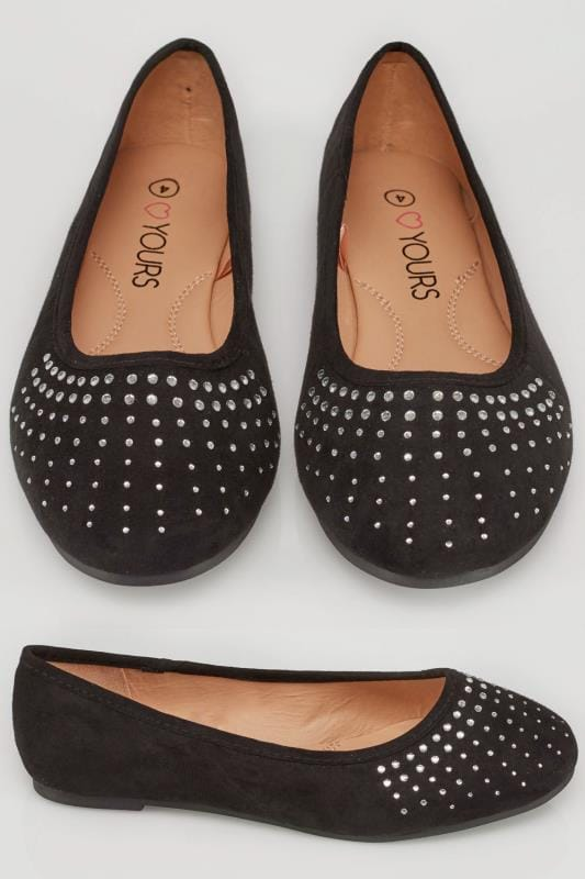 Wide Fit Flat Shoes Black Ballerina Pumps With Diamante Detail In TRUE EEE Fit