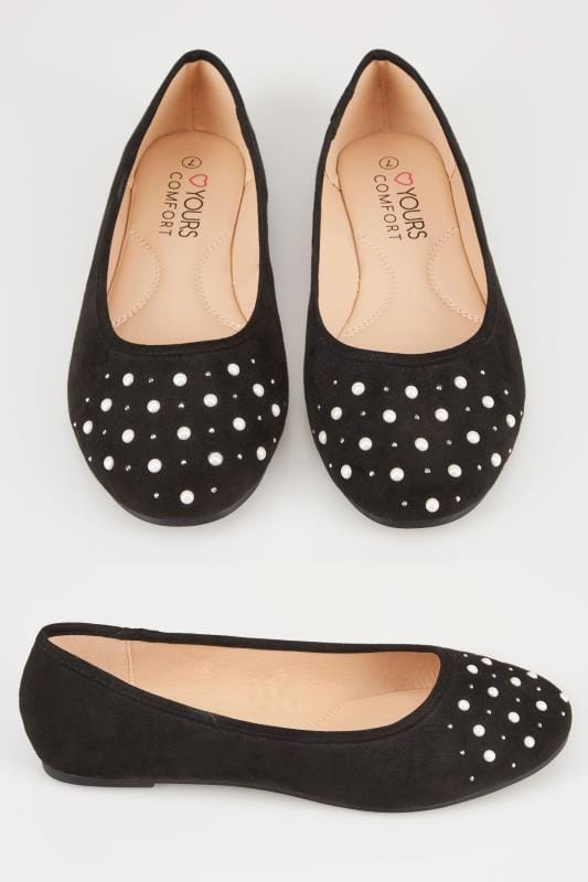 Wide Fit Flat Shoes Black Ballerina Embellished Pumps In EEE Fit