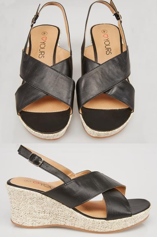 Wide Fit Wedges Black COMFORT INSOLE Cross Over Wedge Sandal In EEE Fit