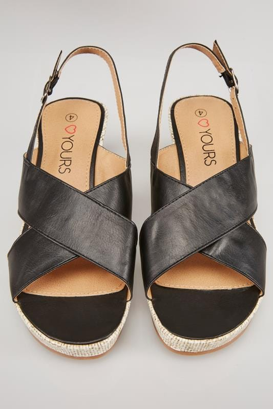 Black Cross Over Wedge Sandals In EEE Fit