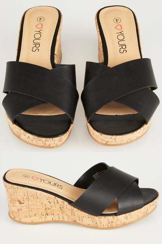 Plus Size Wedges & Platforms Black Crossover Cork Wedge Sandals In EEE Fit