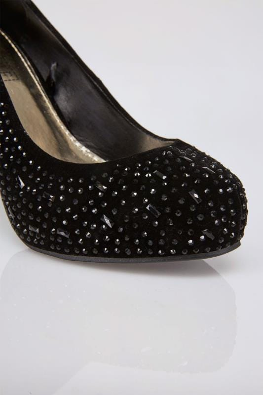 Black Embellished Platform Heeled Party Shoe In E Fit