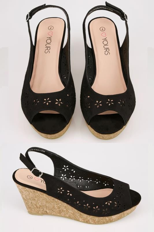 Wide Fit Wedges Black Floral Laser Cut Slingback Wedge Sandal In TRUE EEE Fit