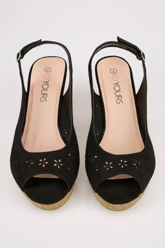 Black Floral Laser Cut Slingback Wedge Sandal In TRUE EEE Fit