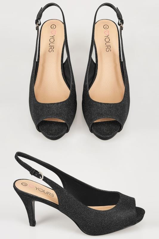 Wide Fit Heels Black Glittery Peep Toe Sling Back Heels In EEE Fit