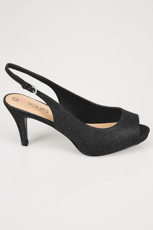 Black Glittery Peep Toe Sling Back Heels In Eee Fit