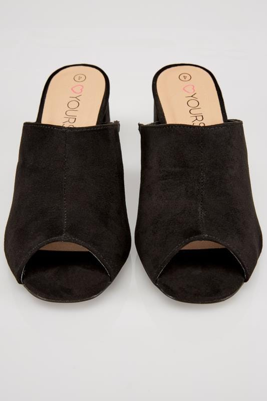 Black COMFORT INSOLE Mule Sandals With Block Heel In TRUE EEE Fit