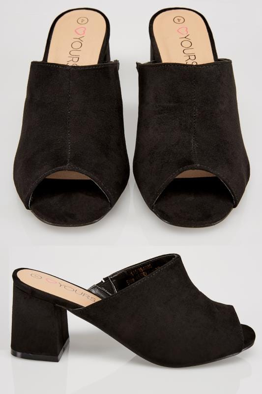 Wide Fit Heels Black Mule Heeled Sandals In EEE Fit