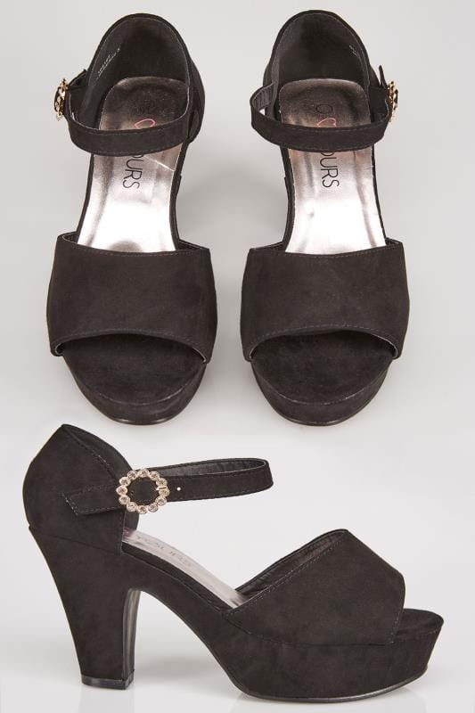Black COMFORT INSOLE Open Toe Platform Heels With Diamante Buckle In EEE Fit