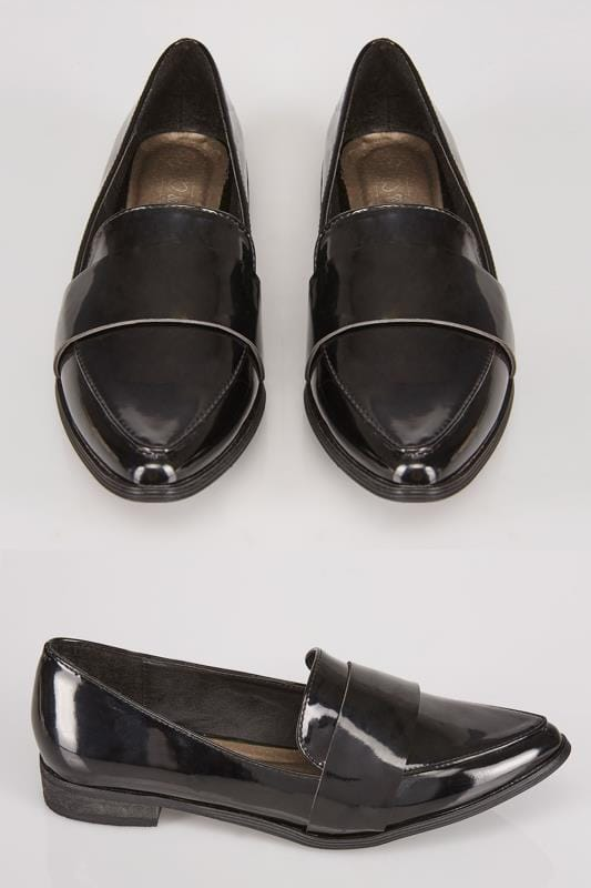 Black COMFORT INSOLE Patent Pointed Toe Loafers In E Fit