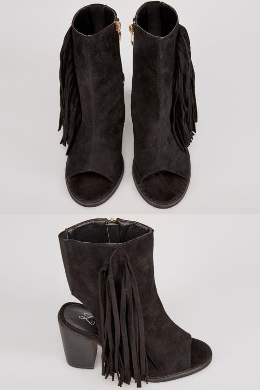 Black COMFORT INSOLE Peep Toe Heeled Tassel Boots In E Fit