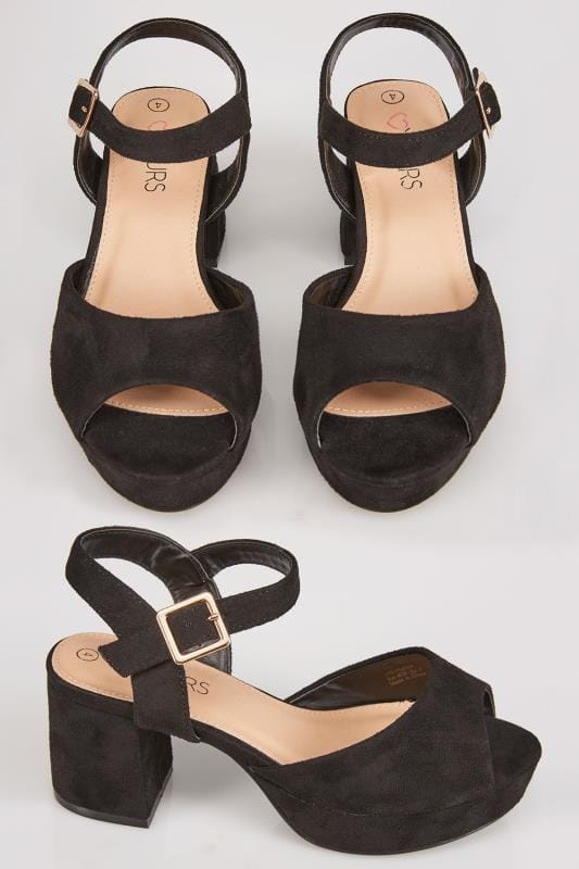 Black COMFORT INSOLE Platform Sandals With Block Heel In TRUE EEE Fit