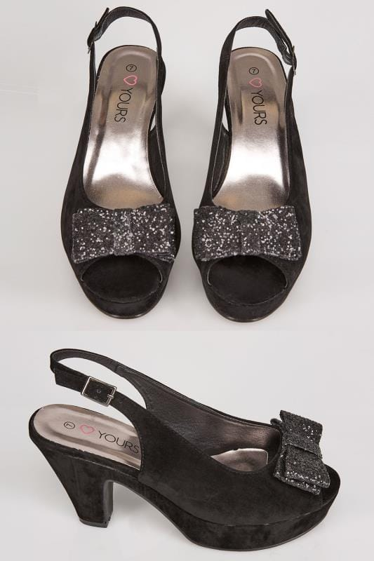 Black COMFORT INSOLE Platform Slingback Heels With Glitter Bow In EEE Fit