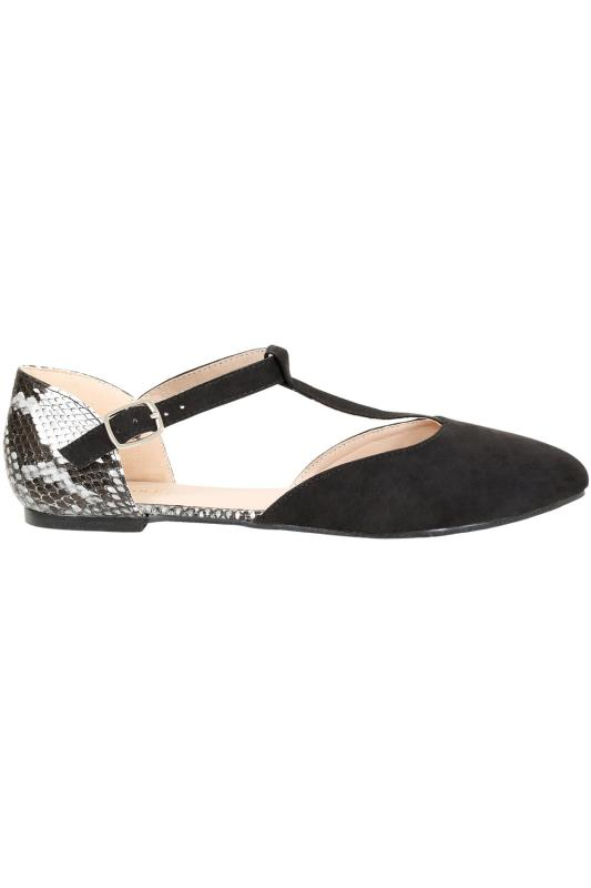 Black COMFORT INSOLE Snake Print Ankle Strap Pointed Toe Shoe In E Fit