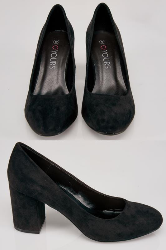 Black Faux Suede Block Heel Court Shoe In E Fit