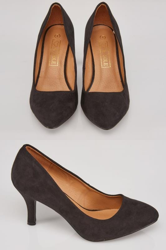 Black COMFORT INSOLE Suedette Court Shoe In E Fit