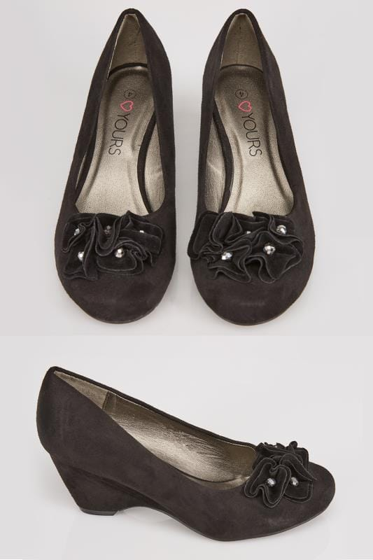 Wide Fit Wedges Black COMFORT INSOLE Suedette Wedge Shoe With Flower Trim In EEE Fit 102302