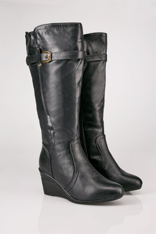 Plus Size Wide Calf Boots Black Calf Length Boots With Wedge Heel & Buckle Details In TRUE EEE Fit