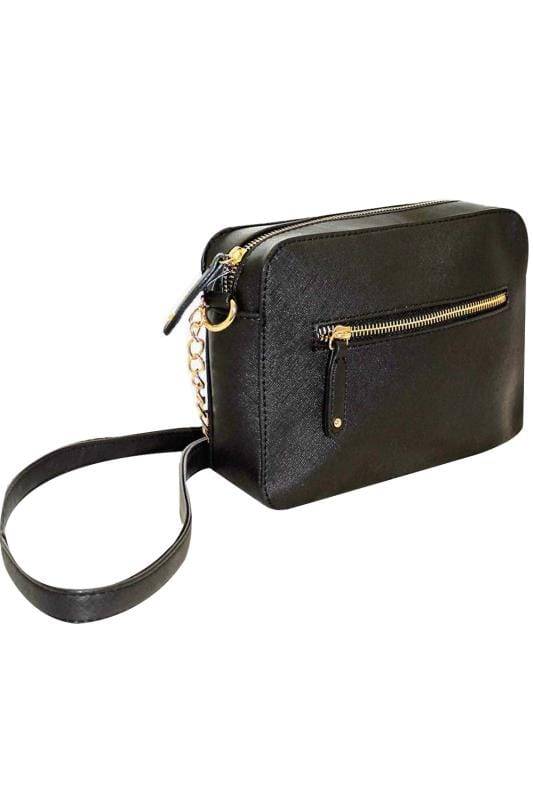 Black Camera Bag With Cross Body Chain