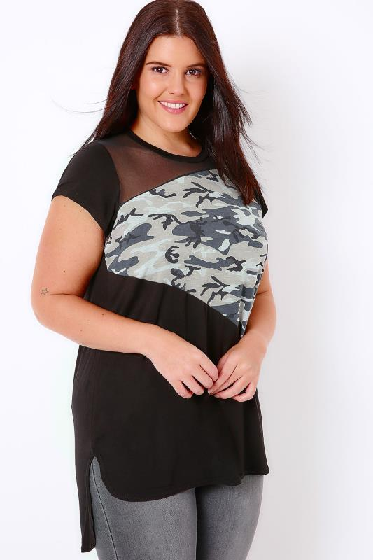 Black & Camo Print Colour Block Top With Mesh Panel & Dip Hem