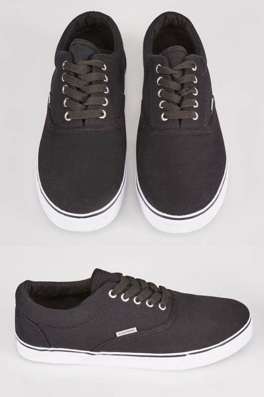 Trainers & Plimsolls  Black Canvas Lace Up Plimsolls 056152