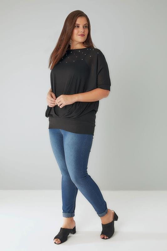 Black Studded Slouch Jersey Top With Band Hem