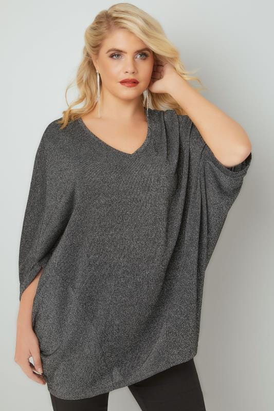 YOURS LONDON Black & Metallic Fine Knit Longline Top With Slouchy Cape Sleeves
