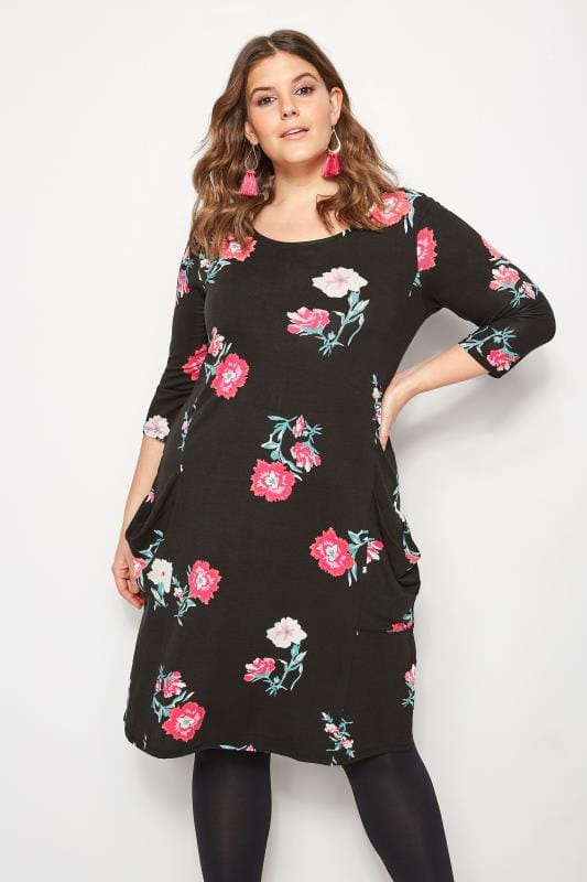 Plus Size Black Dresses Black Carnation Drape Pocket Dress
