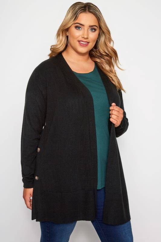 Plus Size Knitted Cardigans Black Cashmillon Button Side Cardigan