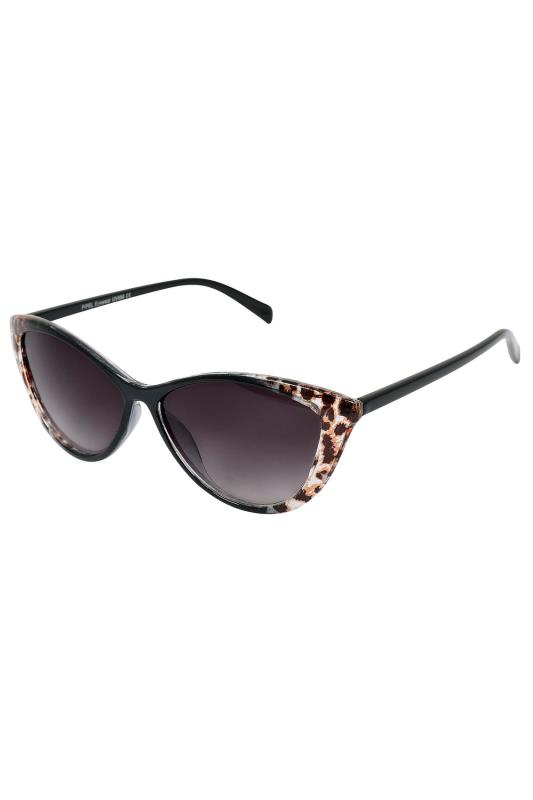Black & Animal Cat Eye Sunglasses With UV 400 Protection